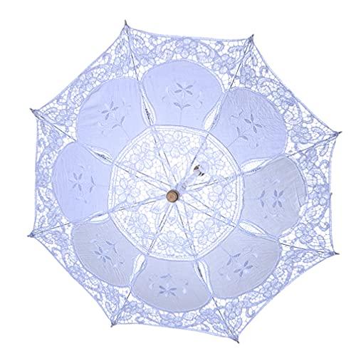 VALICLUD Parasol de Encaje Vintage Paraguas Nupcial para Decoración Accesorios de Fotos Mango de Madera Decoración Paraguas Azul