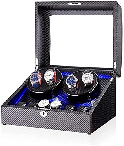LONGJIQ Black 4 + 6 Reloj automático Banderero Caja con luz LED en Carcasa de Madera y Piano de Cuero Pintura Exterior Super silencioso Motor-C Fantastic