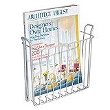 mDesign Revistero - Revistero pared para el baño, la cocina o la oficina - Revistero pared metálico para libros y revistas - plateado