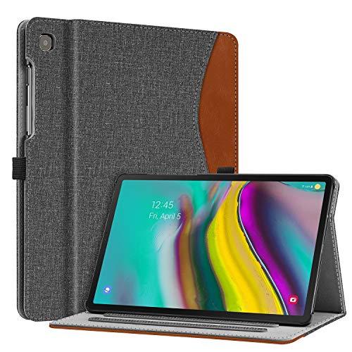 Fintie Hülle für Samsung Galaxy Tab S5e 10,5 Zoll SM-T720/T725 2019 Tablet - Multi-Winkel Betrachtung Kunstleder Schutzhülle mit Dokumentschlitze und Auto Schlaf/Wach Funktion, dunkelgrau