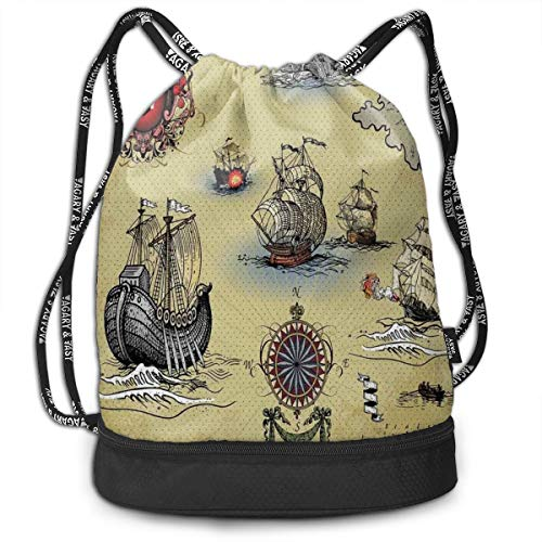 MLNHY Printed Drawstring Backpacks Bags,Antique Old Plan Discovery Ship Pirate Wave Compass Navigation Geography Theme,Adjustable String Closure