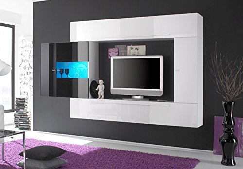 Wohnwand PRIMO A TV Anbauwand weiß und schwarz Hochglanz lackiert - 2