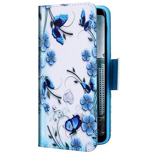 Uposao Kompatibel mit Samsung Galaxy S20 Hülle Leder Hülle Flip Schutzhülle Bunt Muster Handyhülle Brieftasche Wallet Hülle Klapphülle Bookstyle Case Magnet Kartenfächer,Blau Schmetterling
