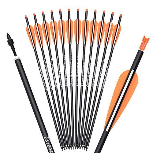 """TY Archery 16 Zoll Carbon Armbrustbolzen Jagd Bogenschießen Pfeile mit 4\"""" Flügel ersetzt Pfeilspitze Spitze (12 Stück)"""