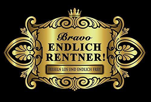 Oblique-Unique® Aufkleber Flaschenetikett Endlich Rentner Etikett Gold elegant
