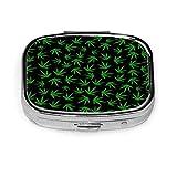 Caja de pastillas de hojas verdes para monedero Caja de pastillas de viaje creativa Caja decorativa Organizador de medicina de metal Recipiente de vitamina de hierro duradero para bolsillo