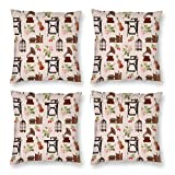 Pillow Covers 18 x 18 Inch Set of 4, Birdcage Vintage Elements with Books Gramaphone Sewing Machine and Wildflowers Decorative Throw Pillow Case Cushion Cover for Sofa Couch Sofa Home Decor