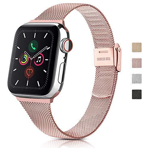 YLK Métal Bracelets Compatible avec Apple Watch 38mm 40mm 42mm 44mm, Acier Inoxydable en métal Compatible pour iWatch 6 5 4 3 2 1 & Se,Hommes Femmes (38mm/40mm, 02 Rose)