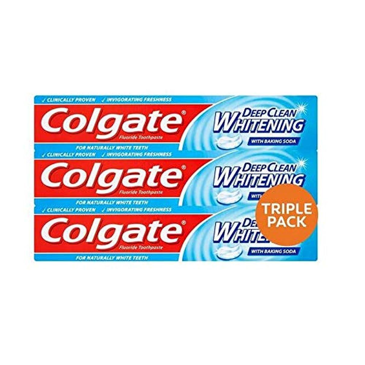 グリルデンマーク語ヘア[Colgate ] コルゲート深いクリーンホワイトニング歯磨きトリプルパック3×75ミリリットル - Colgate Deep Clean Whitening Toothpaste Triple Pack 3 x 75ml [並行輸入品]
