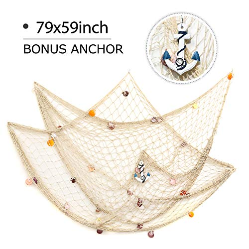 KINGSO Mediterranean Style Decorative Fish Net with Anchor and Shells