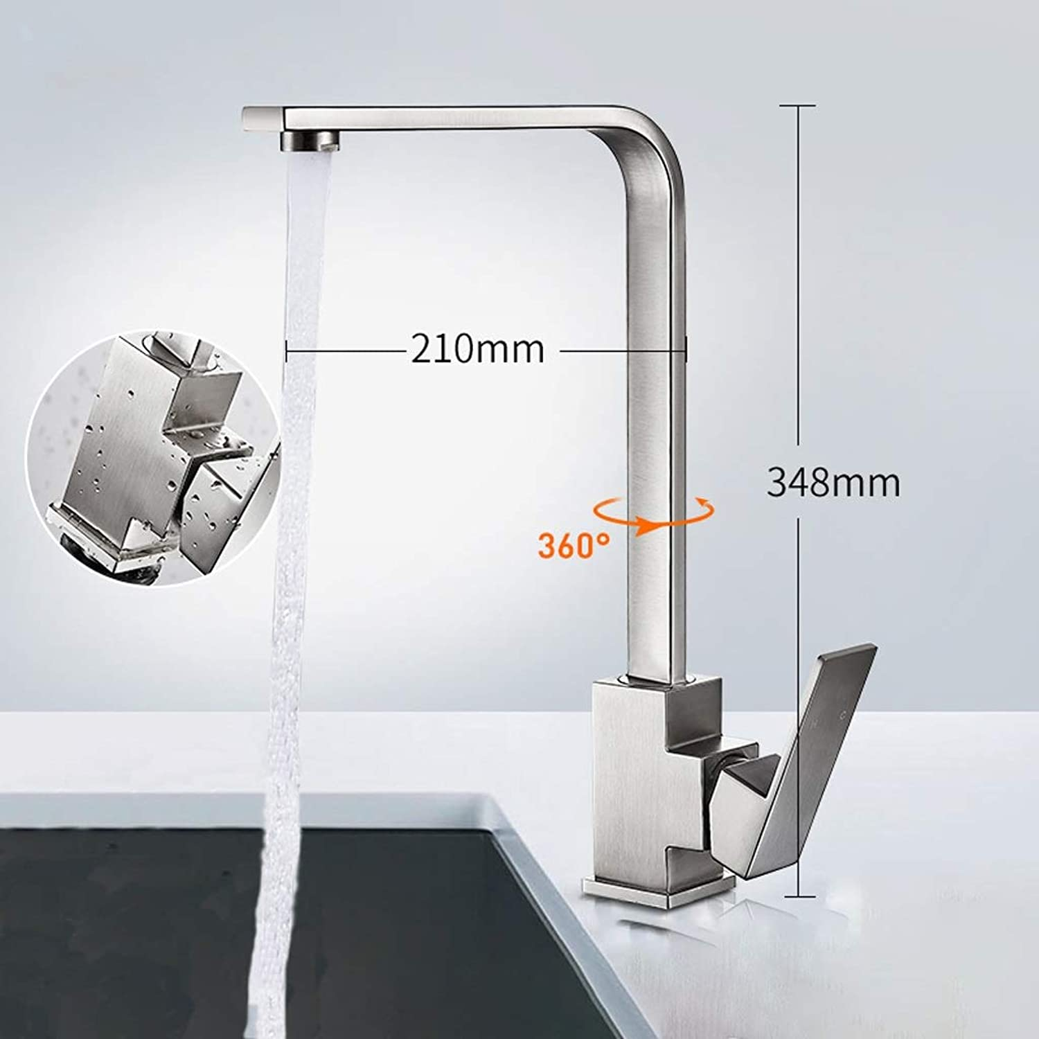 Niuniu Water Tap, Faucet, Shower Kitchen, Bathroom Creative, Modern Can Be Drawn Out Faucet Plating Hot And Cold (color   B)