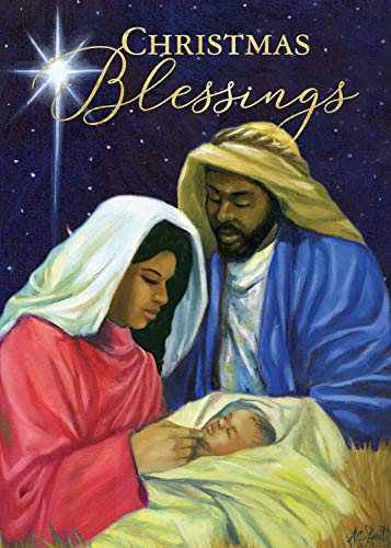African American Expressions - Embossed Christmas Cards Boxed Set - Traditional Religious Designs - Set of 15 (5x7) Cards with Foil-Lined Envelopes & Gold Sticker Seals - Nativity Christmas Blessings