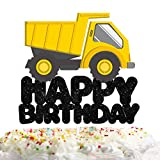 Building Truck Happy Birthday Cake Topper Decorations with Car for Engineering Vehicle Theme Picks for Kids Party Decor Supplies