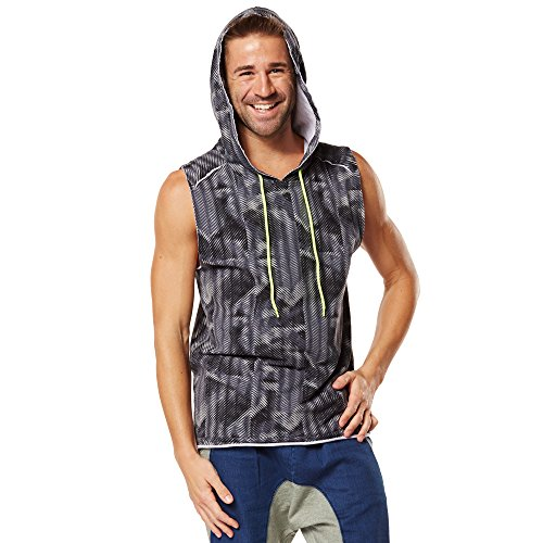 Zumba Fitness Surged Sleeveless Hoodie Sudaderas con Capucha, Hombre, Gris, S