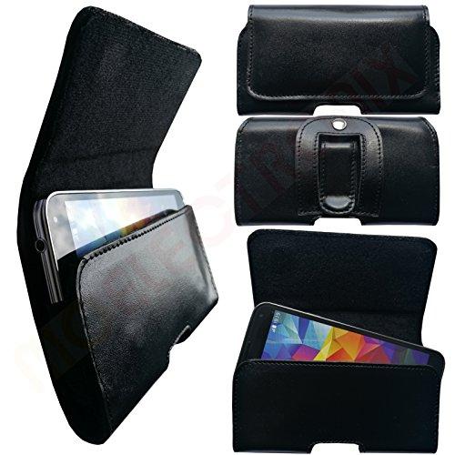 MOELECTRONIX HQ ECHT Leder Gürtel SCHWARZ Seiten Quer Tasche Belt Cover Hülle Schutz Hülle Etui passend für Siswoo Longbow C50 5.0