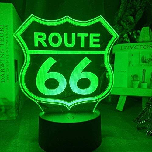 Dalovy Festival 3D Lámpara de Ilusión Luz de Noche Led Ruta 66 para Habitación Gadget Decorativo Will Rogers Highway Dormitorio Infantil Madre Calle Lámpara de Escritorio Regalo