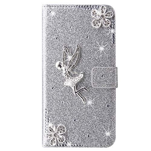 Blllue Funda tipo cartera compatible con Samsung A21s, Bling Glitter Angel Diamond Pu Funda de cuero Flip Phone Cover para Samsung Galaxy A21s - Plata