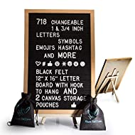 Black Felt Letter Board With Easel Stand 12 x 16   718 Changeable Characters Including 1 inch and ¾ Letters, Symbols, Emojis Hashtag And More   Hook To Hang   2x Canvas Storage Pouches