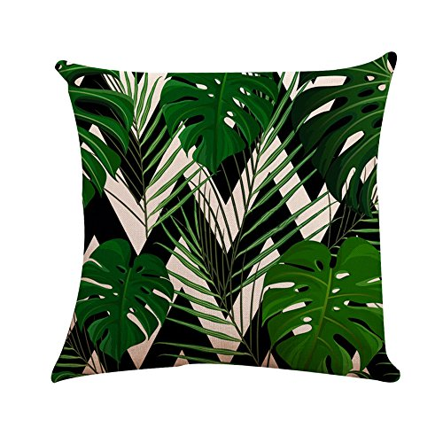 FiedFikt Funda de almohada de hoja verde para sofá y coche, funda de cojín para decoración del hogar, funda de almohada suave decorativa para decoración del hogar (C)