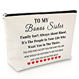 Birthday Gift for Bonus Sister Makeup Bag Friendship Gift for Girls Sister in Law Gifts Cosmetic Bag Graduation Gift for her Appreciation Christmas Gift Travel Cosmetic Pouch