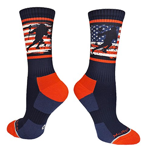 MadSportsStuff Crew Length USA Lacrosse Socks with American Flag and Player (Navy/Red/White, Small)