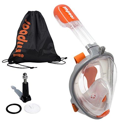 roadwi Panorama vollgesichts schnorchelmaske mit Kamerahalterung, 180-Grad-Blickwinkel,Extra Langes Rohr für einfachen Atem ,Anti-Nebel Für Kinder Erwachsene Tauchen (Grau,L/XL)