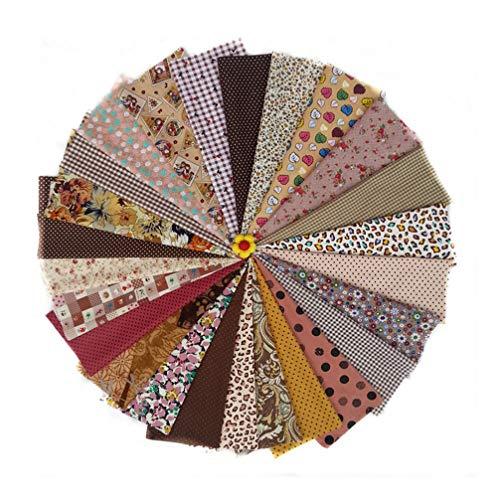 EXCEART 25 Piezas de Algodón Estampado Patchwork Tela Precortada Acolchado Cuadrado Paquete de Costura Cuadrada para Bricolaje Paños Artesanales Decoración 20X30 Cm (Color Mezclado)