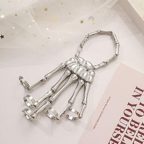 2020 Metall Skelett Armband, Halloween Horror Schädel Hand Knochen Finger Armreif Klaue Sklave Armband Ring Punk Gothic Ornamente (Silber)