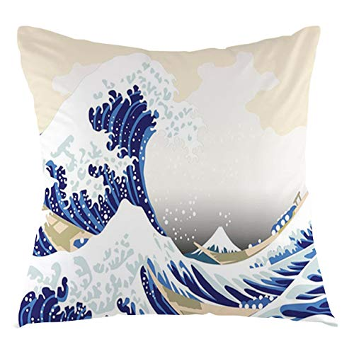 FULIYA Funda de cojín con diseño de ondas de Hokusai, diseño japonés Ukiyoe, estilo oriental de boceto de estilo océano, decorativo, cuadrado, 40,6 x 40,6 cm, color azul marino beige