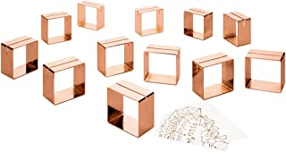 Koyal Wholesale 12 Piece Rose Gold Metal Modern Napkin Ring Place Card Holder Set, 12 Foil Place Cards Included, Wedding, Brunch, Events, Thanksgiving, Christmas, Restaurant and Home Table Settings