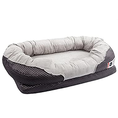 BarksBar Medium Gray Orthopedic Dog Bed - 32 x 22 inches - Snuggly Sleeper with Grooved Orthopedic Foam, Extra Comfy Cotton-Padded Rim cushion and Nonslip Bottom