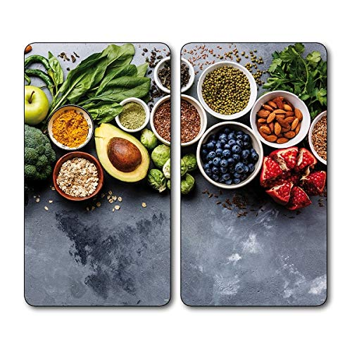Kesper Healthy Kitchen 36543 Lot de 13 planches à découper en verre 52 x 30 x 0,8 cm