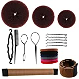 Luxtrip Hair Bun Maker Set,3 pcs Bun Maker Magic Hair Styling Tool,10 Pieces Elastic Hair Ties,2 Pieces French Magic Twist Hairstyle Clip,36 Pieces Hair Bobby Pins,4 Pieces Ponytail Hair Tool