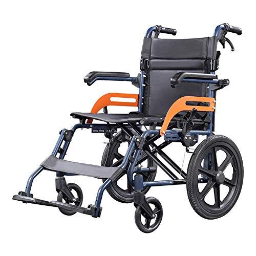 Jacquelyn Silla De Ruedas De Viaje Plegable Portátil, Silla De Ruedas De Transporte Ultraligera De Mano, Scooter para Discapacitados, Adecuado para Personas Mayores Y Niños