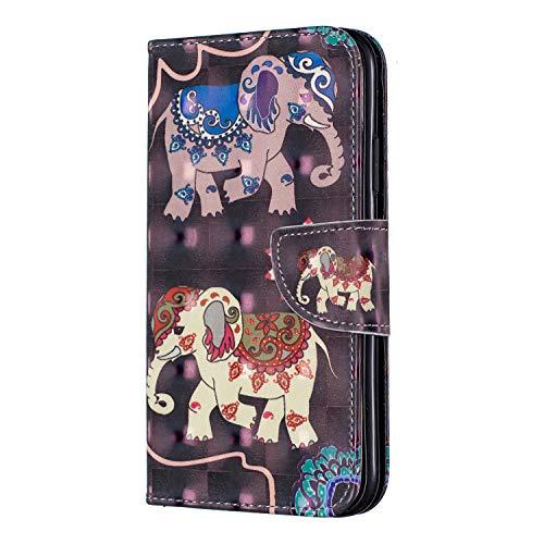 iPhone 11 Brieftasche Hülle, SONWO Schlanke Flip PU Leder Flip Schutzhülle Hülle für Apple iPhone 11 mit Stand und Magnetverschluss, Elefant