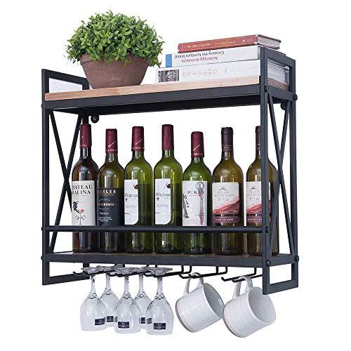 Hierro forjado tapices estante de la botella del estante colgante de pared de copas de vino en rack de Hogares,Black,60 * 54 * 20cm