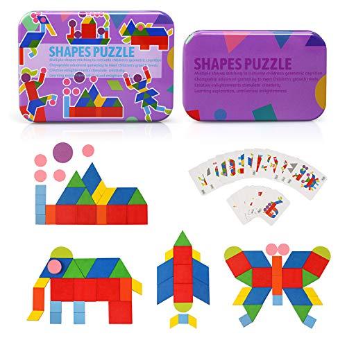 Ballery Juguetes de Madera, Shapes Puzzle Montessori Puzzle de Madera Puzzle Montessori Juegos Juegos Educativos Regalo para 3 4 5 6 Años (34 Madera Modelo Bloques + 60 Piezas Tarjetas de Diseño)