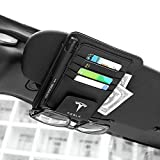 MASHA Compatible Tesla Leather Glasses Holders for Car Sun Visor,Eye Glasses Storage Box,Sunglasses Eyeglasses Mount with Ticket Card Clip for Tesla Model 3/S/X Series Auto Interior Accessories