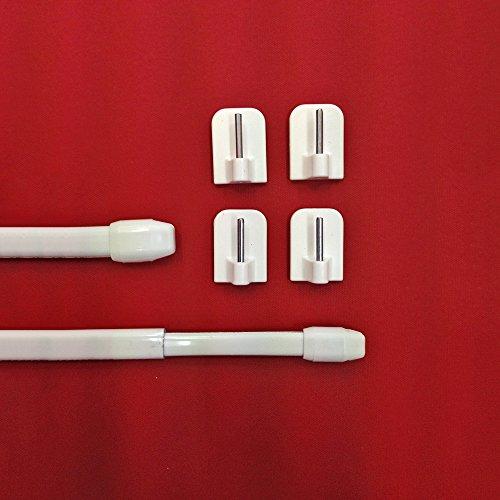 Easy-Shadow - 2 Stück = 1 Paar Vitragestangen Breite 120 - 230 cm inkl. 4 Stück Klebehaken in Farbe weiß - Vitrage Scheibenstange Gardinenstange Cafehausstange Bistrostange Teleskop-Stange ausziehbar für Scheibengardine 11 mm Höhe - weiß