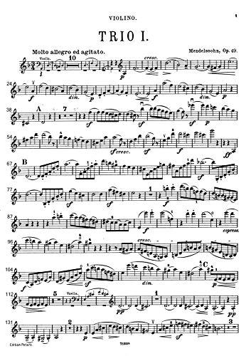 『楽譜 pdf メンデルスゾーン ピアノ三重奏曲第1番 ニ短調 Op. 49 全パート譜セット』の1枚目の画像