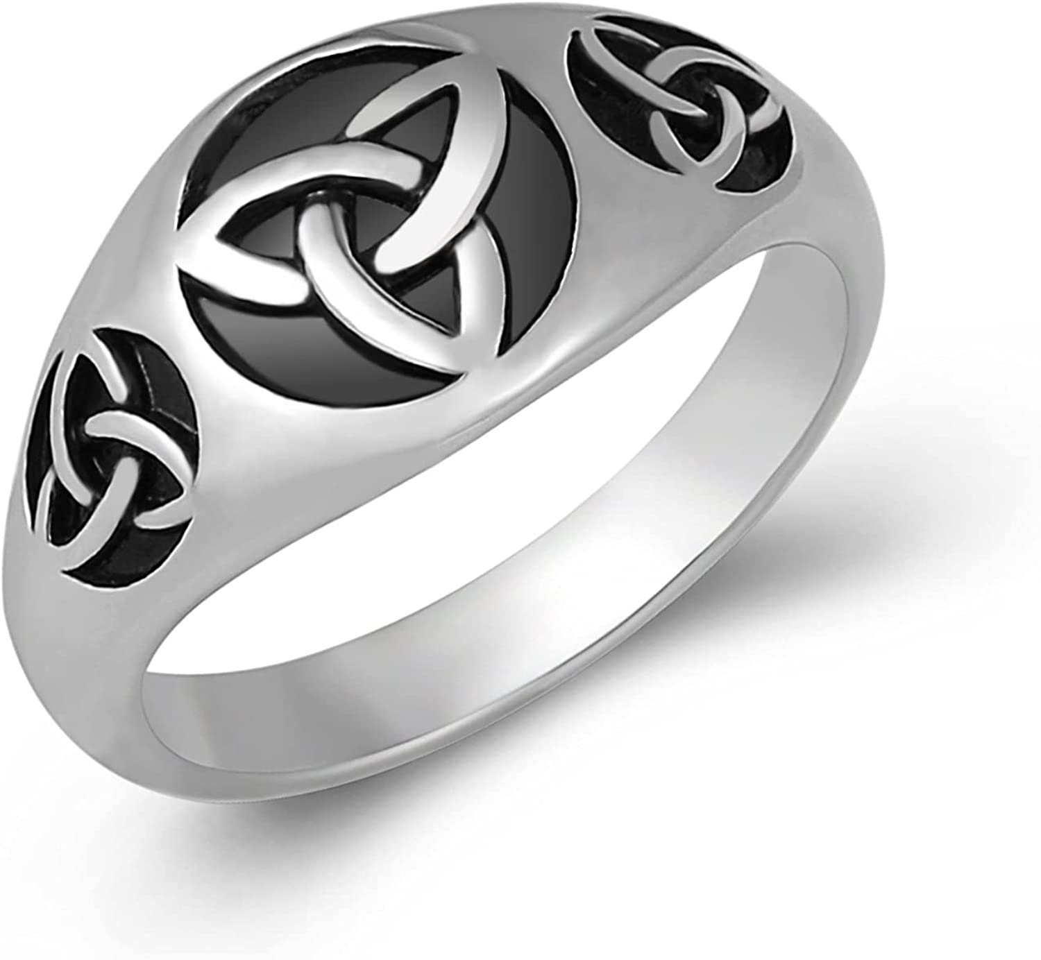 HZMAN Triquetra Trinity Knot Stainless Steel Irish Celtic Knot Ring Size(7-13)