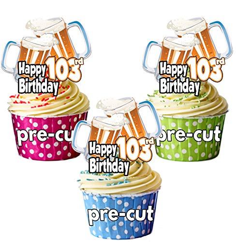 Happy 103ª cumpleaños cerveza pinta temática de cristal – adornos precortados comestibles para cupcakes/decoraciones para tartas – para hombre – damas – celebraciones – fiesta Pack of 36