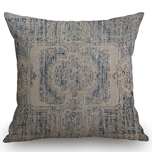 Swono Throw Pillow Cover Vintage Carpet Pattern Antique Grunge Tribal Decorative Pillow Cases Home Decor Square 18x18 Inches Pillowcases