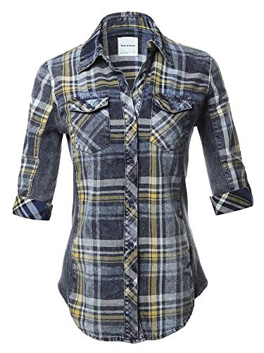 Casual Washed Plaid 3/4 Sleeve Button Down Shirt Denim Blue Yellow M