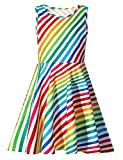 uideazone Girls Rainbow Striped Maxi Sleeveless Dress for Casual/Party Summer 4T - 5T