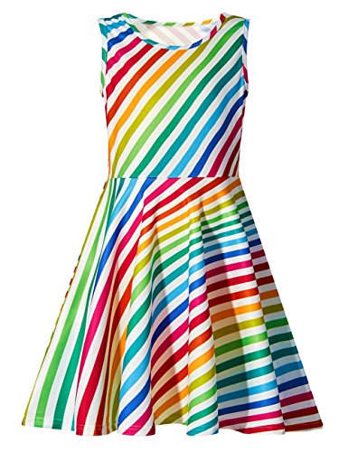 Funnycokid Rainbow Srtipe Girl's Dress for Holiday Beach 10 12 Years