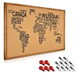 Navaris tablero para notas de corcho - Tablero con marco de madera de 90 x 60CM - Planificador mapamundi con 15 chinchetas y set de montaje