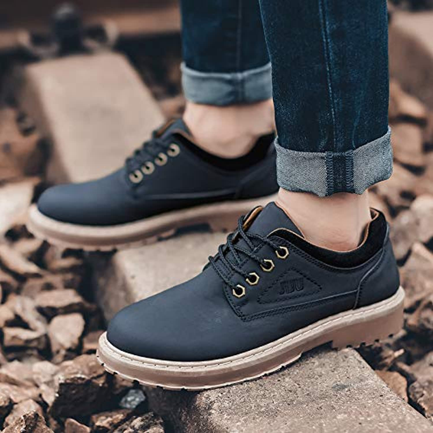 LOVDRAM Boots Men's Autumn New Short Boots Casual Men'S shoes Low To Help Martin Boots Fashion Retro Tooling shoes Men'S shoes