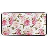 AGONA Anti Fatigue Kitchen Mat Spring Pink Rose Floral Flower Kitchen Floor Mat Soft Standing Mats Non Slip Kitchen Rugs Bath Rug Runner Carpet for Home Decor Indoor Outdoor