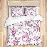 LONSANT Bedding Juego de Funda de Edredón,Shabby Flora Rosas Rosadas con Hojas Grises Plantas de jardín Flores de Primavera...